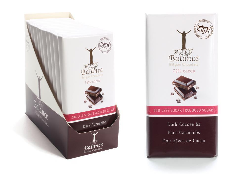 Balance hořká 72% čokoláda bez přidaného cukru, s praženými kakaovými zrny 100g