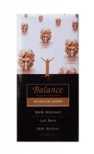 Balance mléčná čokoláda s vlašskými ořechy bez přidaného cukru 85g