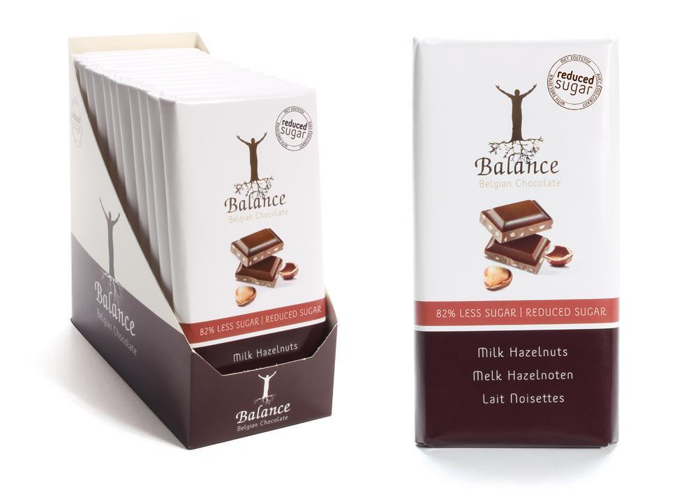 Balance mléčná čokoláda se sladidly, bez přidaného cukru s lískovými oříšky 85 g