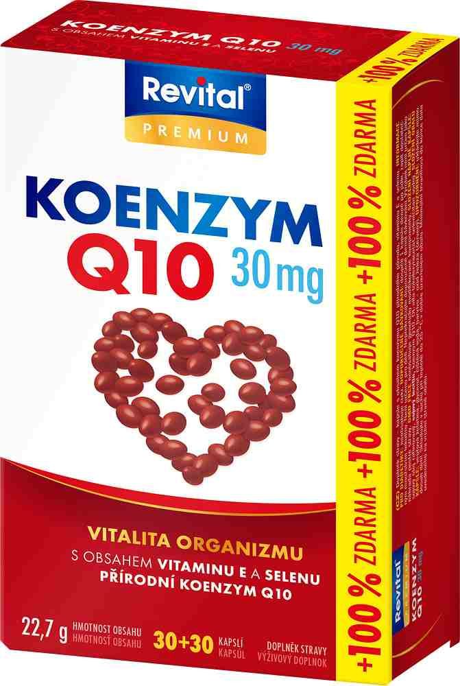 Vitar Revital Koenzym Q10 30 mg + vitamin E + selen 30 kapslí + 30 kapslí ZDARMA