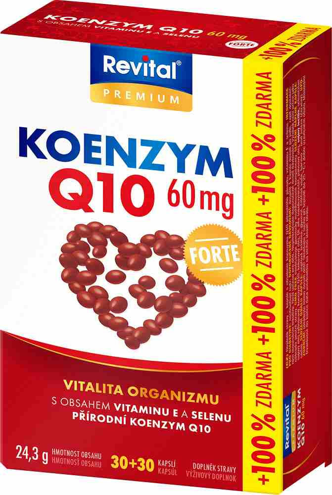 Vitar Revital Koenzym Q10 60 mg + vitamin E + selen 30 kapslí + 30 kapslí ZDARMA