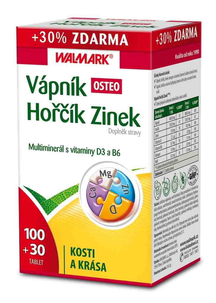 Walmark Vápník - Hořčík - Zinek Osteo 100 tbl. + 30 tbl. ZDARMA