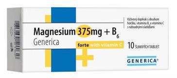 Generica Magnesium 375mg + B6 Generica Forte s Vitaminem C 10 eff.tbl.