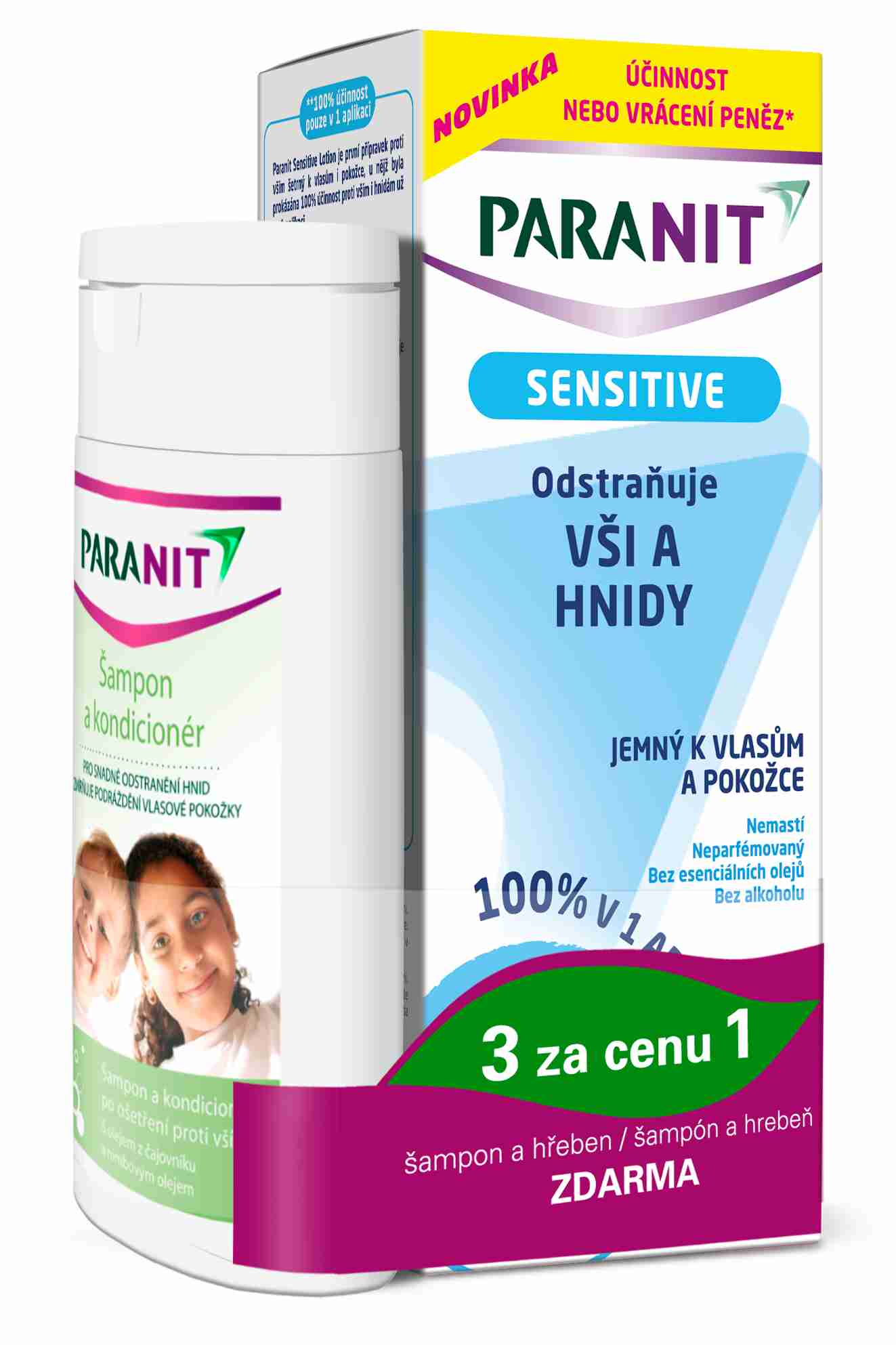 Omega Pharma Paranit Sensitive Lotion 150 ml + šampon 100 ml ZDARMA + hřeben