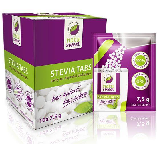 Natusweet Stevia tabs tablety sáček na doplnění dávkovače 7,5g (125 tablet)