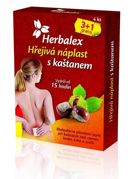 Herbalex - hřejivá náplast s kaštanem 3 ks + 1 ks ZDARMA