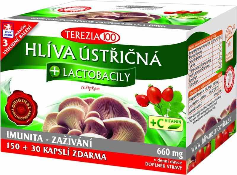 Terezia Company Hlíva ústřičná + laktobacily + vitamín C 150 kapslí + 30 kapslí