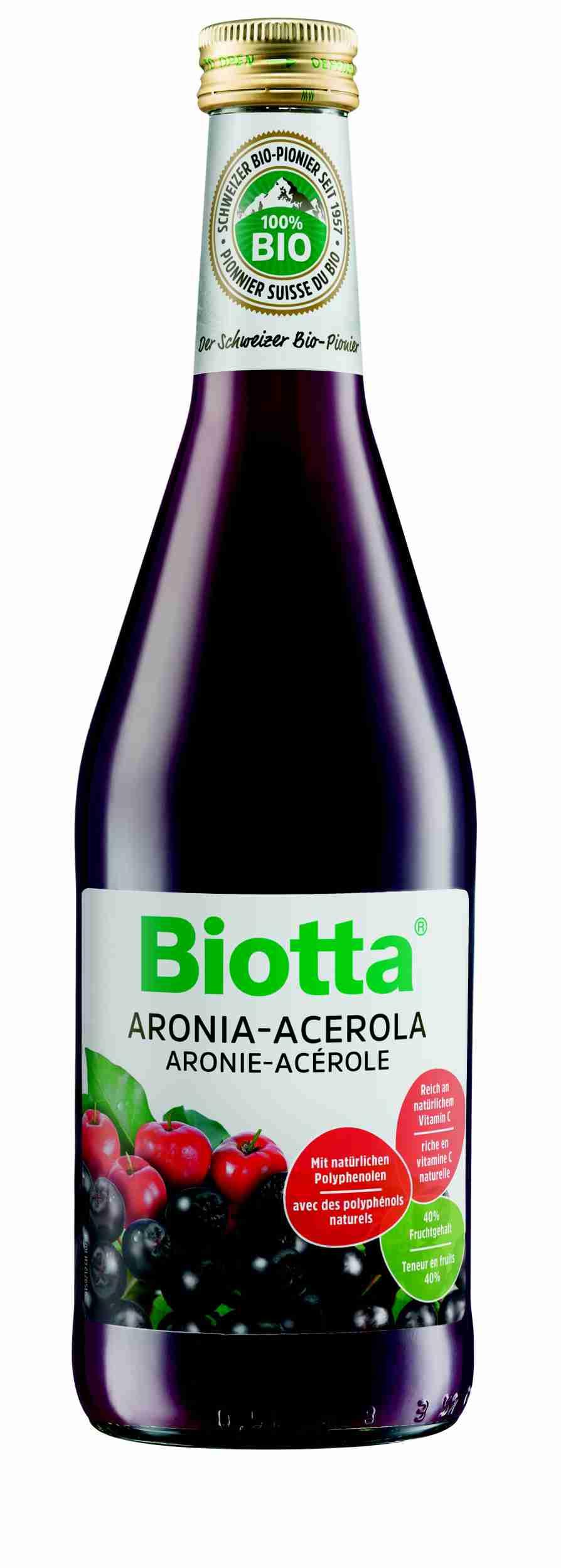 Biotta Bio Aronia - Acerola - šťáva s čajovým extraktem a sirupem z agáve 500 ml