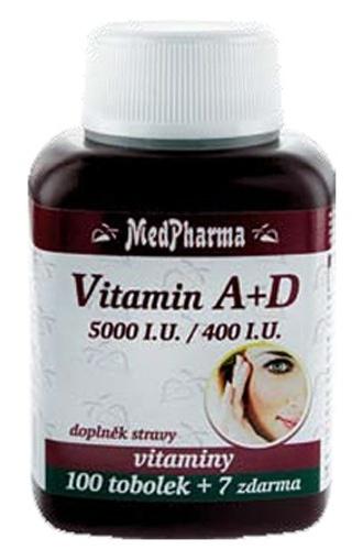 MedPharma Vitamín A + D 100 tob. + 7 tob. ZDARMA
