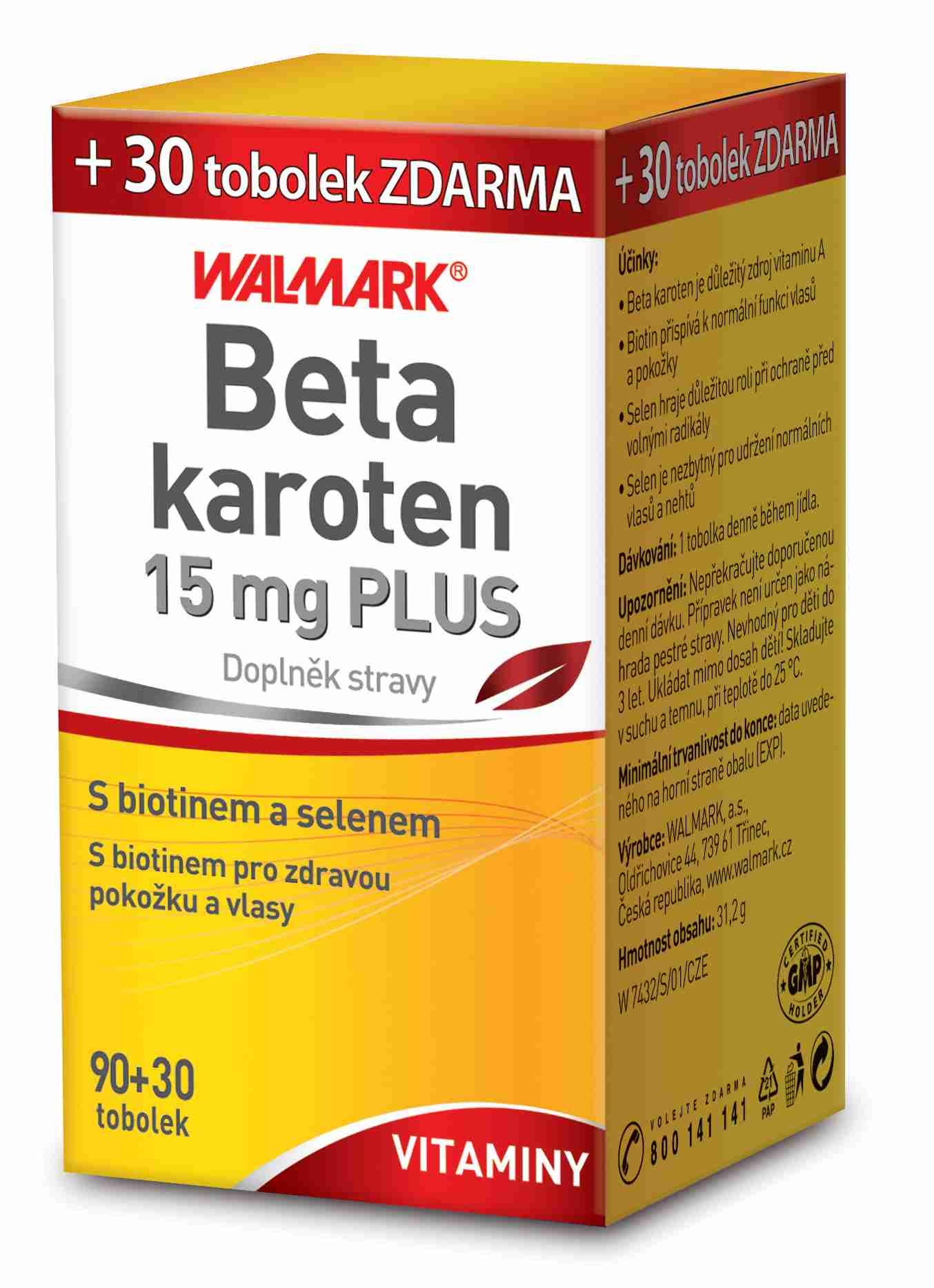 Walmark Beta karoten PLUS 15 mg 90 tob.+ 30 tob. ZDARMA