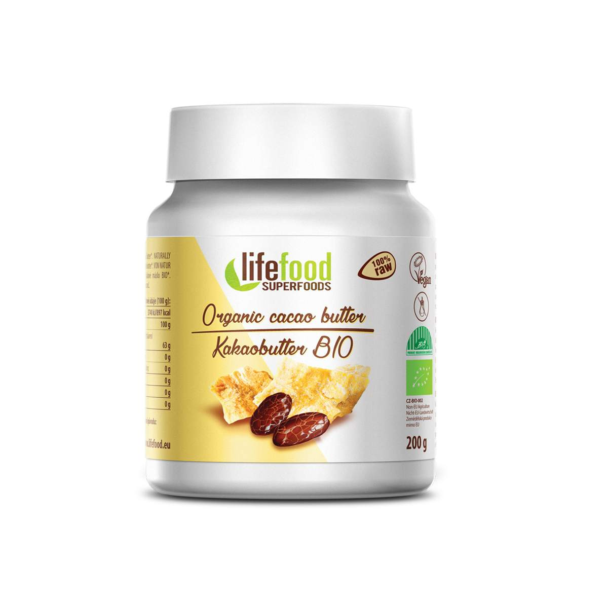 Lifefood Bio Kakaové máslo nepražené Raw 200 g