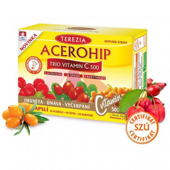 Terezia Company Acerohip Trio vitamín C 500 mg 60 kapslí