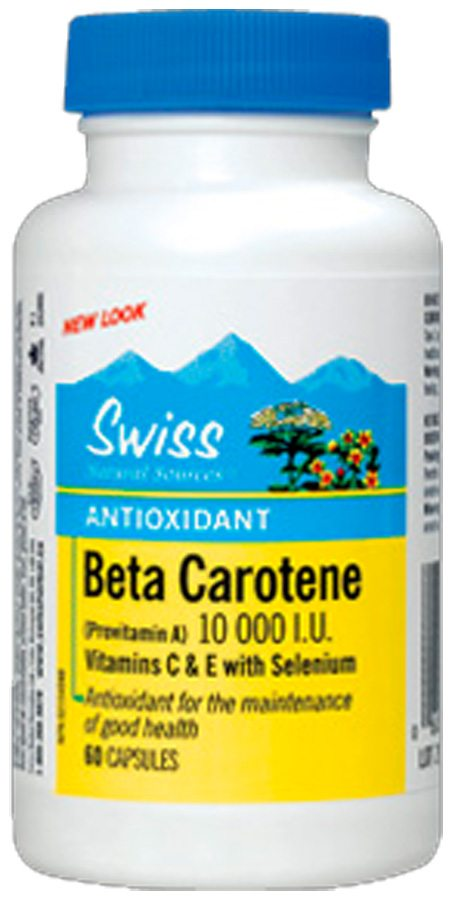 Swiss Herbal Remedies Ltd Swiss Beta karoten 10.000 m.j. plus vitamin C, E a Selén 60 kapslí