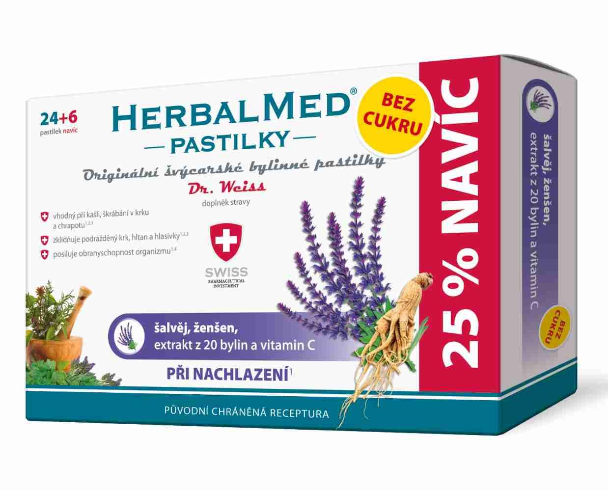Simply You HerbalMed pastilky Dr. Weiss při nachlazení bez cukru 24 pastilek + 6 pastilek