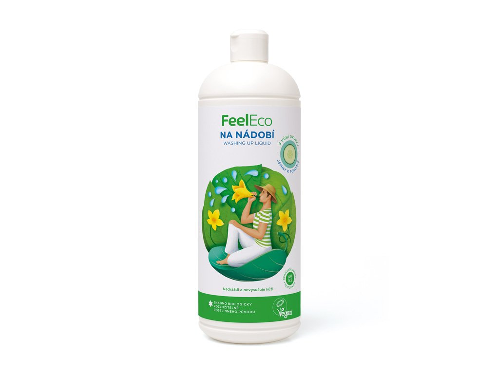Feel Eco Prostředek na nádobí, ovoce a zeleninu s vůní okurky 1 L