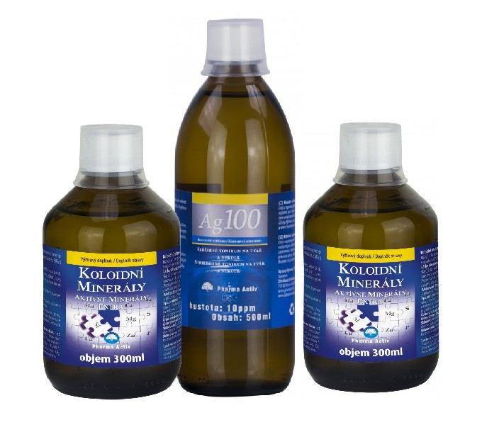 Aurum Health Products Aurum Koloidní minerály 2x 300 ml + Koloidní stříbro Ag100 (10ppm) 500 ml