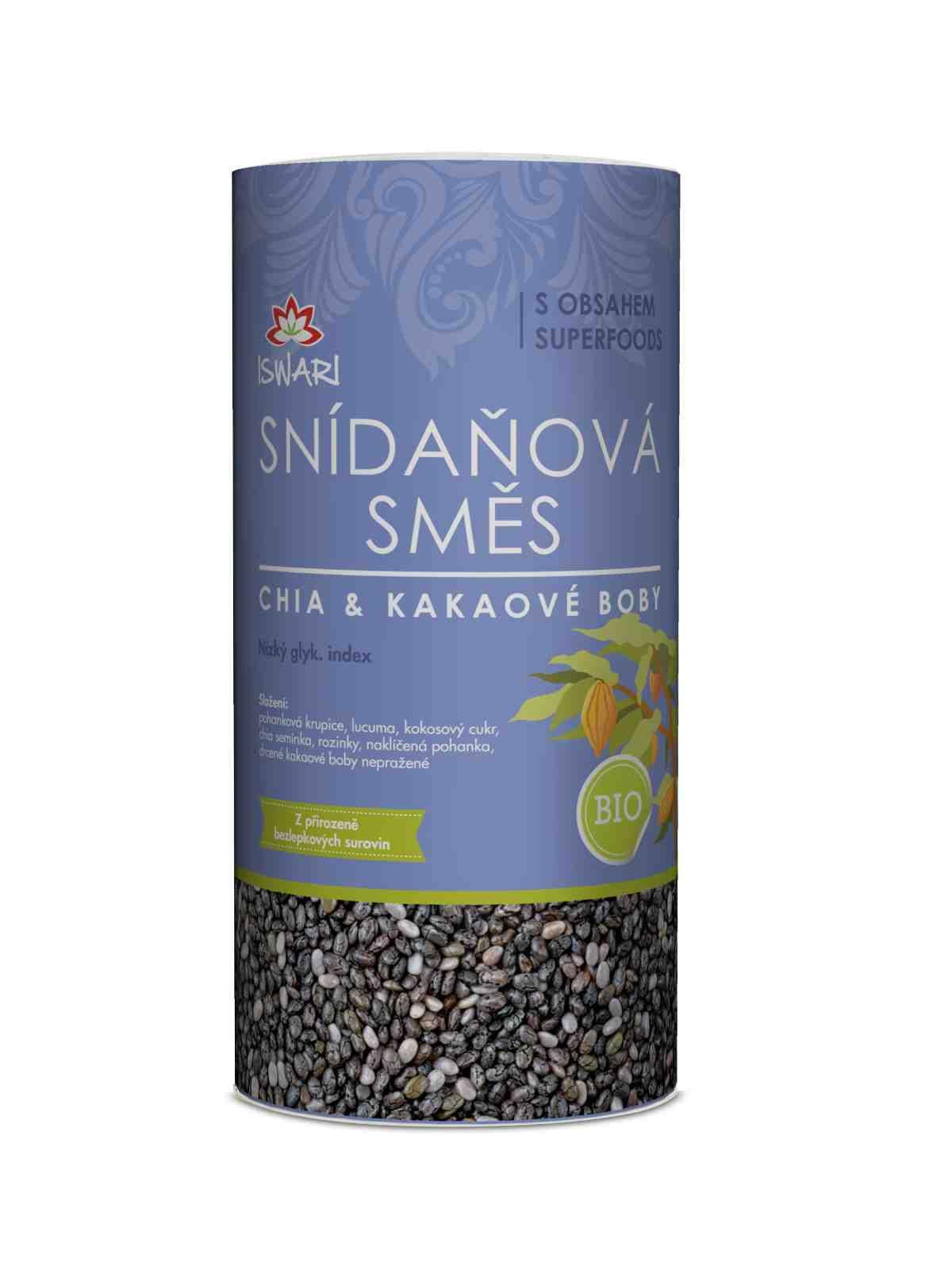 Iswari Bio Snídaňová směs Chia & kakaové boby 360 g