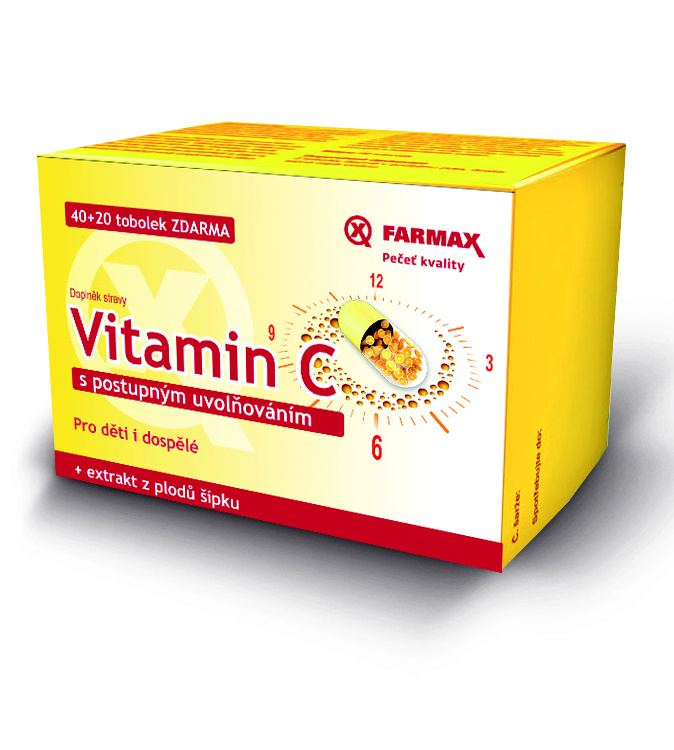 Farmax Vitamin C 500 mg s postupným uvolňováním 40 tob. + 20 tob. ZDARMA
