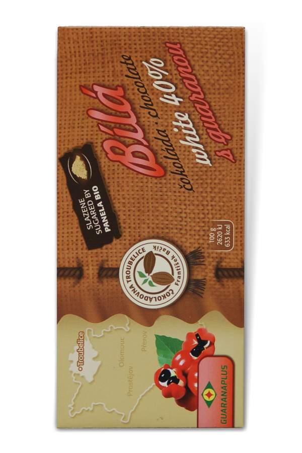 Čokoládovna Troubelice Guaranaplus Čokoláda bílá 40% s guaranou 45 g