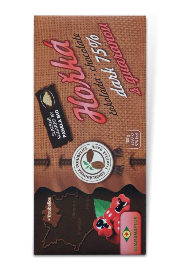 Čokoládovna Troubelice Guaranaplus Čokoláda hořká 75% s guaranou 45 g