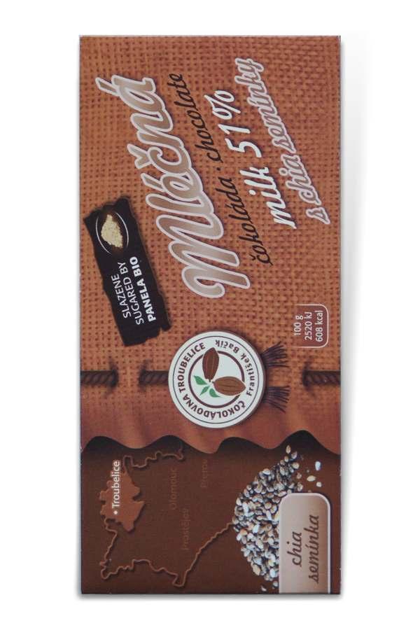 Čokoládovna Troubelice Guaranaplus Čokoláda mléčná 51% s chia semínky 45 g