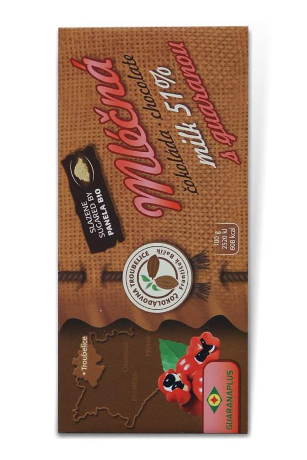 Čokoládovna Troubelice Guaranaplus Čokoláda mléčná 51% s guaranou 45 g