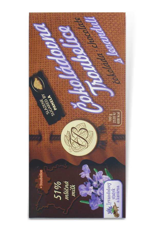 Čokoládovna Troubelice Guaranaplus Čokoláda mléčná 51% s levandulí 45 g