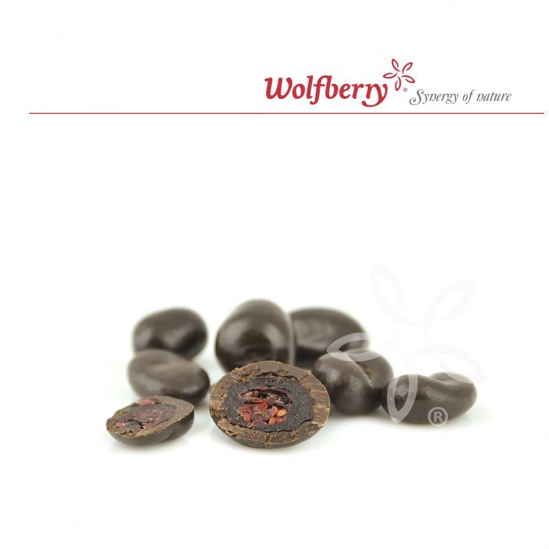 Wolfberry Bio Brusinky v hořké čokoládě 100 g