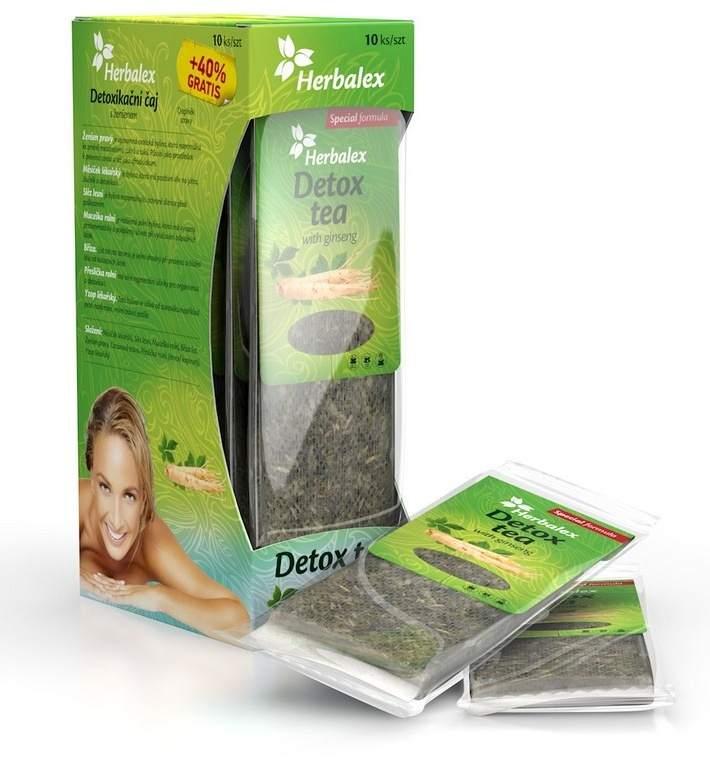 Quantec Pro Herbalex - detoxikační čaj s ženšenem 10 ks + 40% ZDARMA
