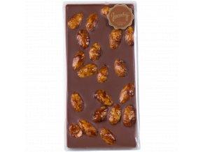 mléčná s karamelizovanými mandlemi, čokoláda z Mikulova, sýrárna mikulov, dobré dárky