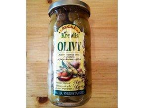 Zelené olivy plněné česnekem, mandlí a parikou, Mlsná myš, Mikulov, dobré jídlo Mikulov, dobré jídlo z jižní moravy, jídlo z jížní moravy, sýrárna Mikulov, sýry Mikulov