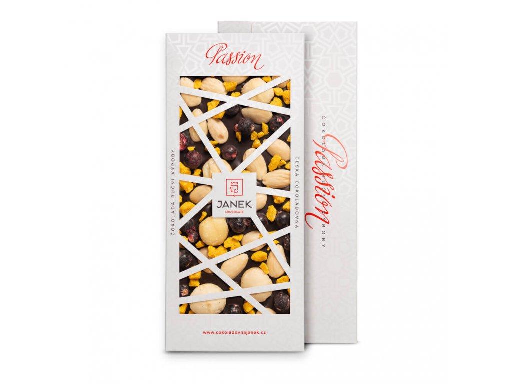72% hořká čokoláda Passion s makadamovými ořechy, mandlemi, pomerančem a rybízem
