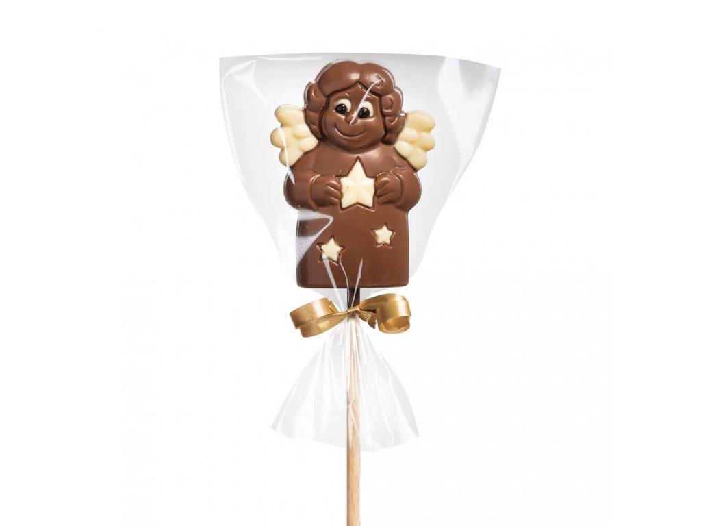 Vánoční čokoládové lízátko – andělíček