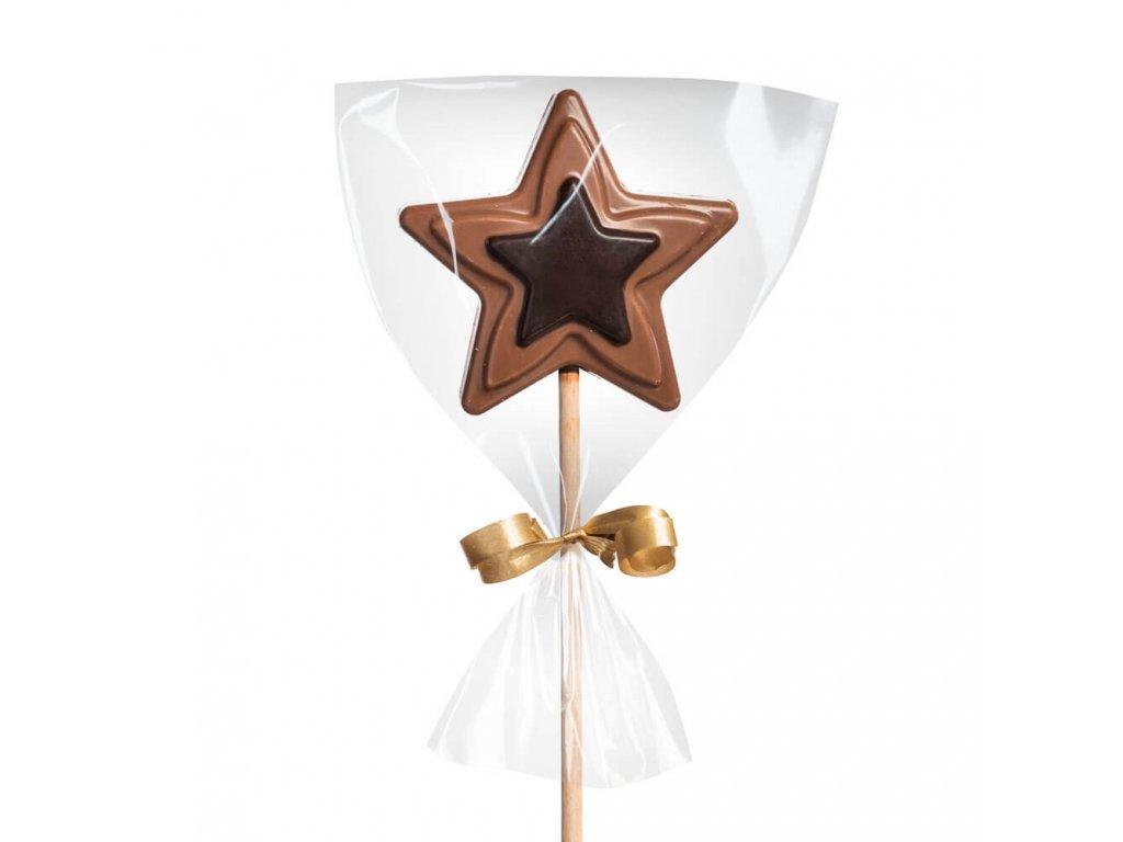 Čokoládové lízátko mléčné/hořké – hvězdička