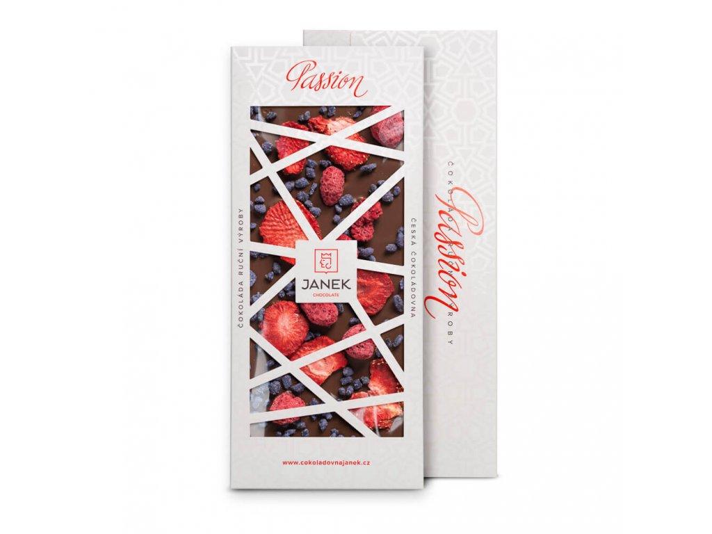 41,3% mléčná čokoláda Passion s jahodami, malinami a fialkou