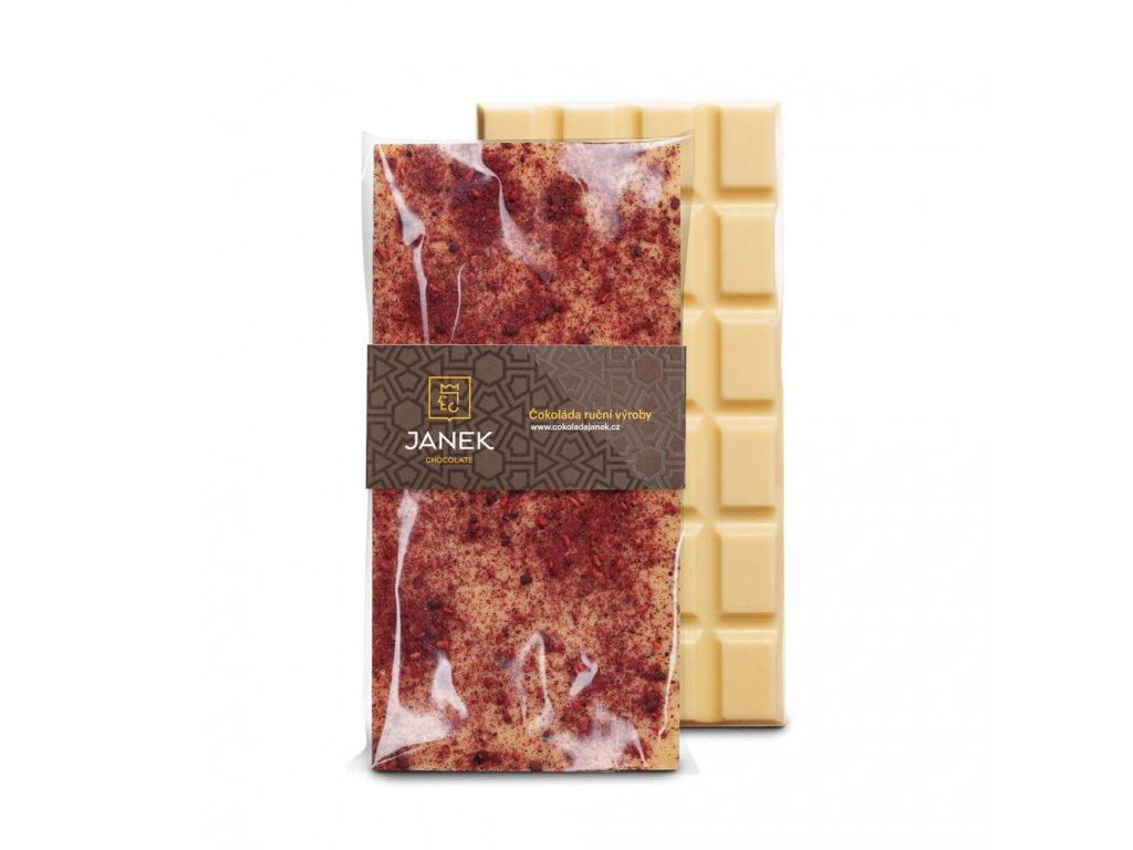 Bílá čokoláda s drcenými lyofilizovanými malinami a ostružinami