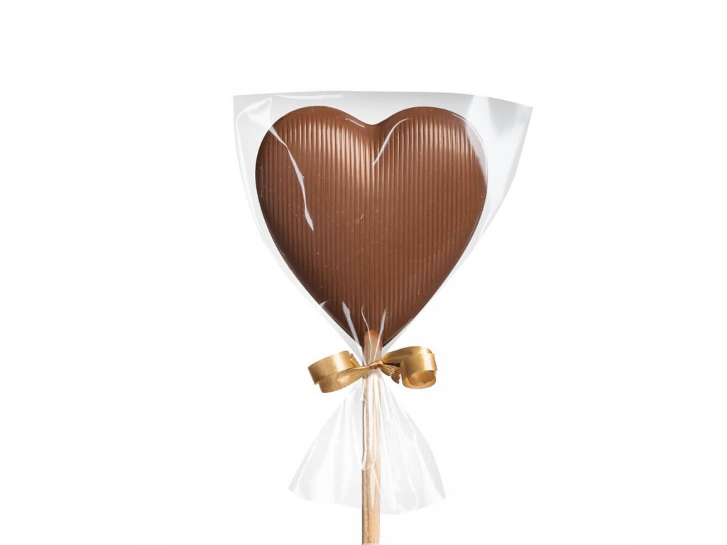 Mléčné čokoládové lízátko – srdíčko