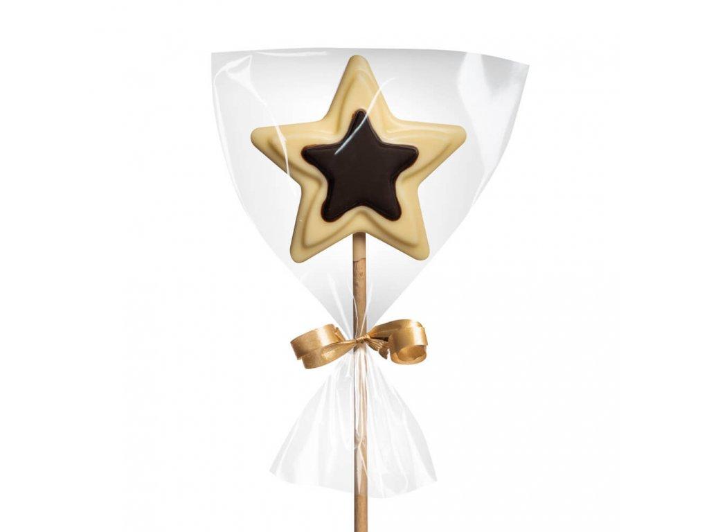 Čokoládové lízátko hořké/bílé – hvězdička