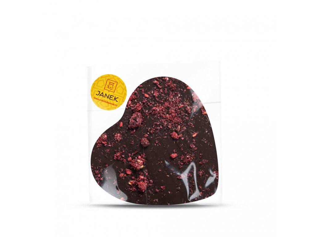 Velké hořké čokoládové srdíčko s drcenými lyofilizovanými malinami a ostružinami