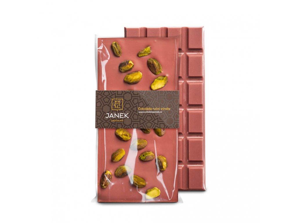Ruby čokoláda s pistáciemi