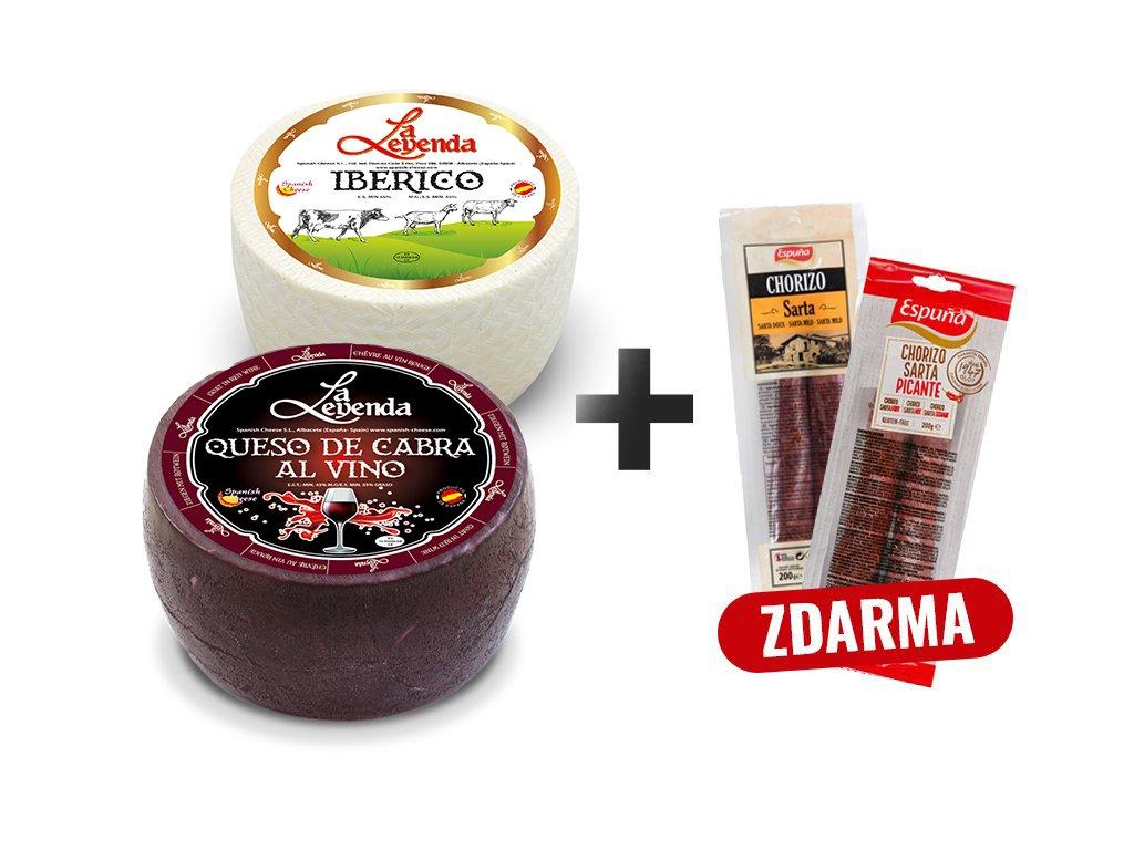 Degustační sada kozí sýr na červeném víně 1 kg, sýr Iberico mini polozralý 1 kg a Chorizo Sarta Extra 200 g, Chorizo Sarta pikantní 200 g zdarma