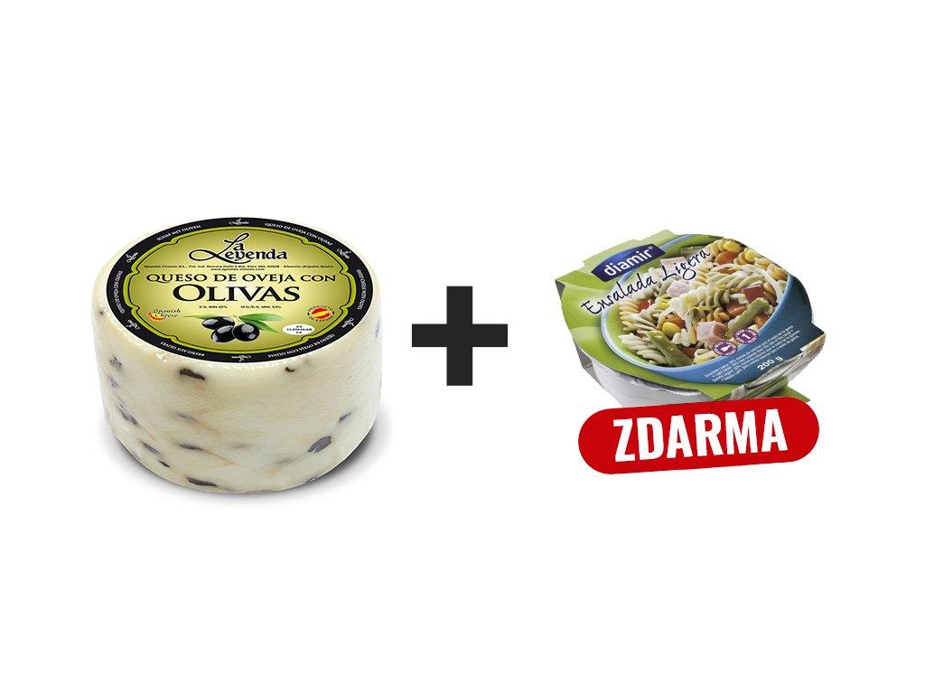 Ovci syr cerne olivy + salat