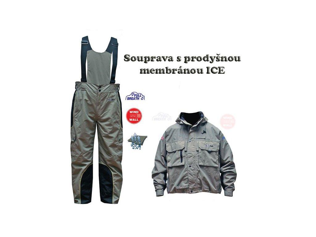Rybářská bunda s membránou ICE-FISH (Balení bunda L)