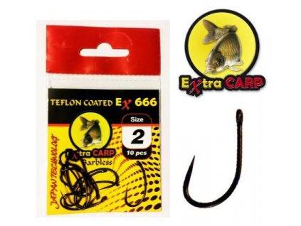 Extra Carp Teflon Hooks Barbless série Ex 666 (Velikost 8)