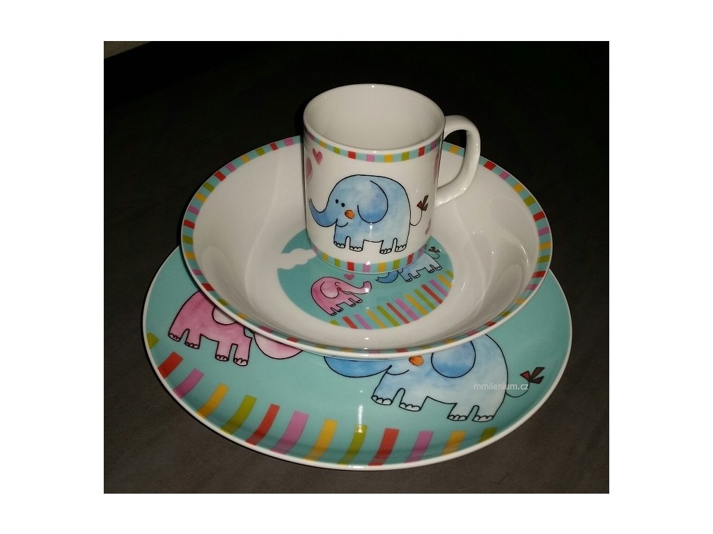 Dětský porcelán pro MŠ s potiskem Slůnek MAT