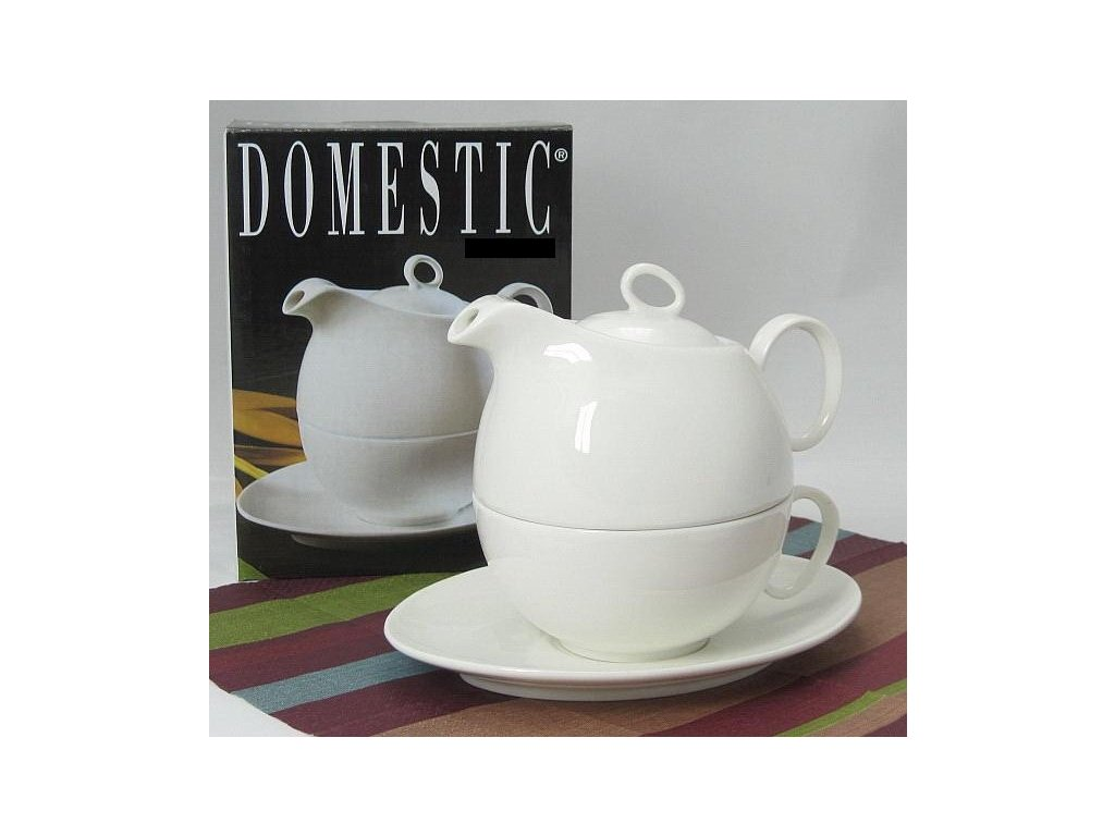 Tea for one - porcelán šálek na čaj s podšálkem s konvičkou pro 1 osobu