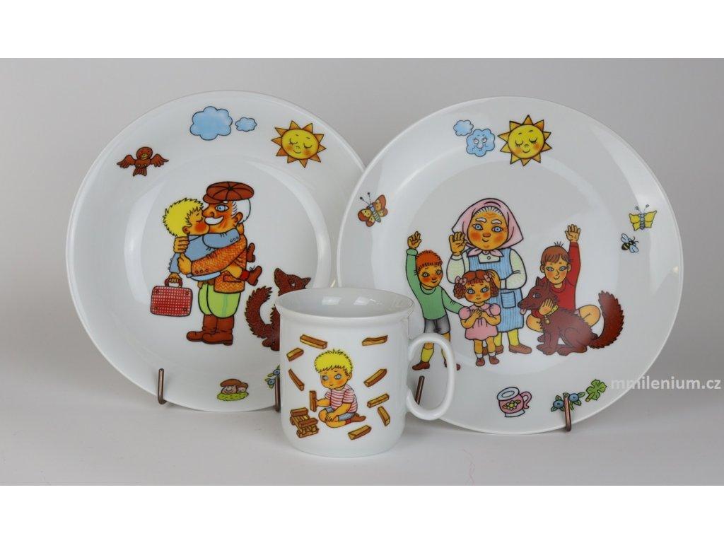 Dětská porcelánová talířová třídílná souprava s potiskem obrázkem Karkulka