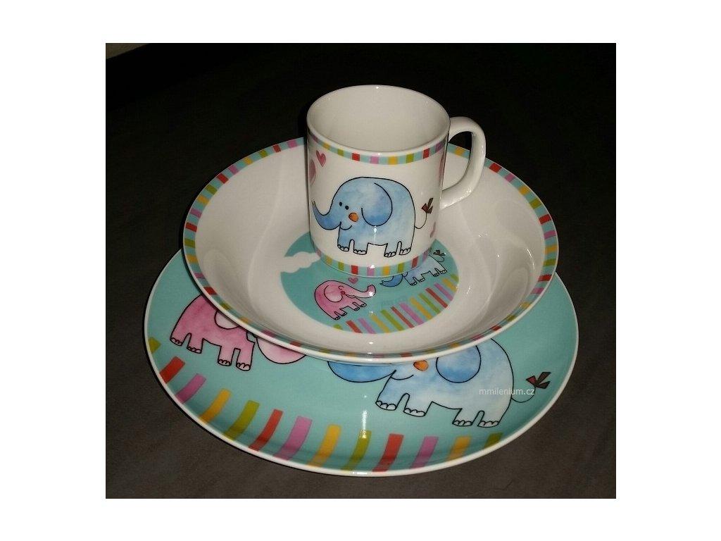 Dětská porcelánová talířová třídílná souprava s potiskem obrázkem Slůnek