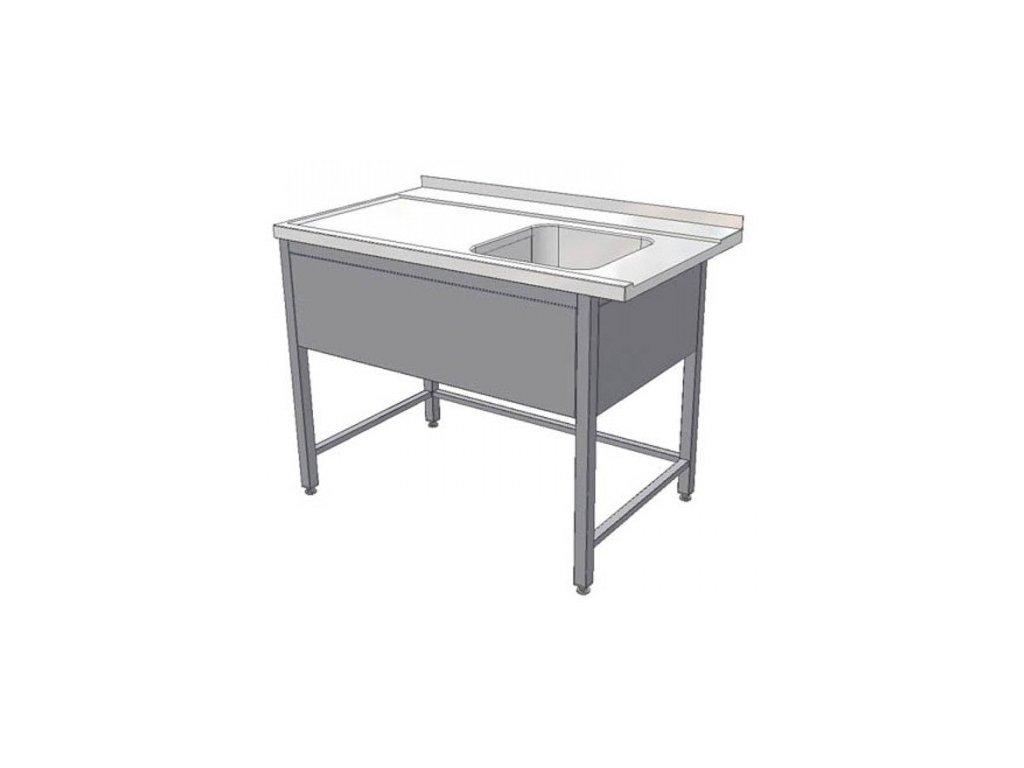 Stůl nerez vstupní k myčce se dřezem KSMD 1300x700