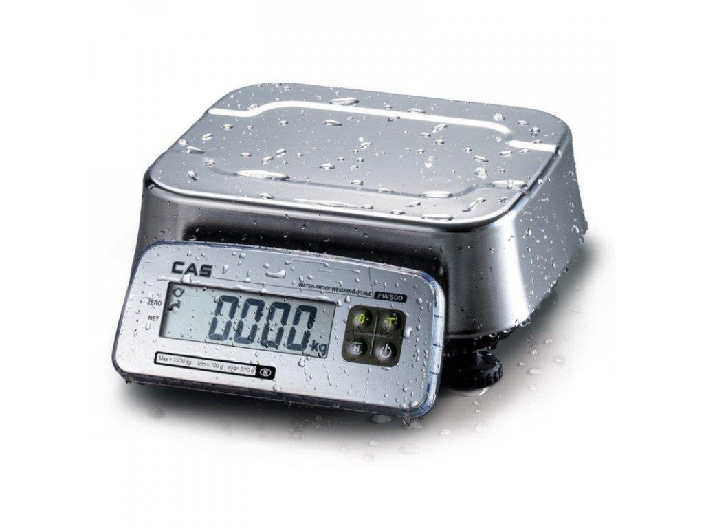 Váha CAS FW-500-6DR, dílek 1/2g, IP-69k, LCD, vodovzdorná